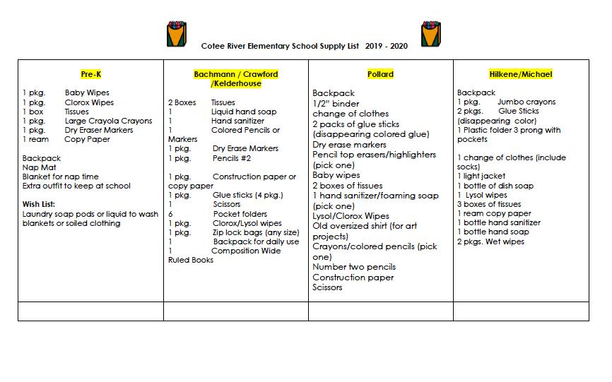 School Supply List 2019/20   Cotee River Elementary School